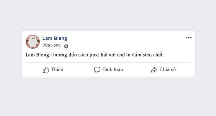 viết chữ in đậm trên facebook