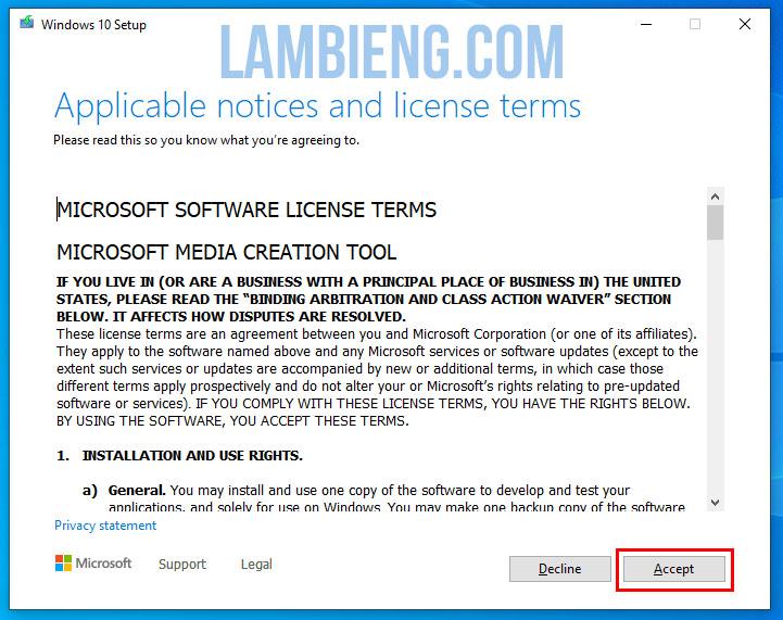 xác nhận điều khoản create windows 10 installation media